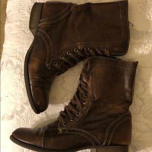 Steve Madden Brown distressed Trooper combat boots